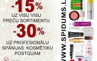Profesionālā matu, manikīra un grima kosmētika, kā arī piederumi ar 15-30% atlaidi veikalā spidums.lv ar 3+ Ģimenes karti!