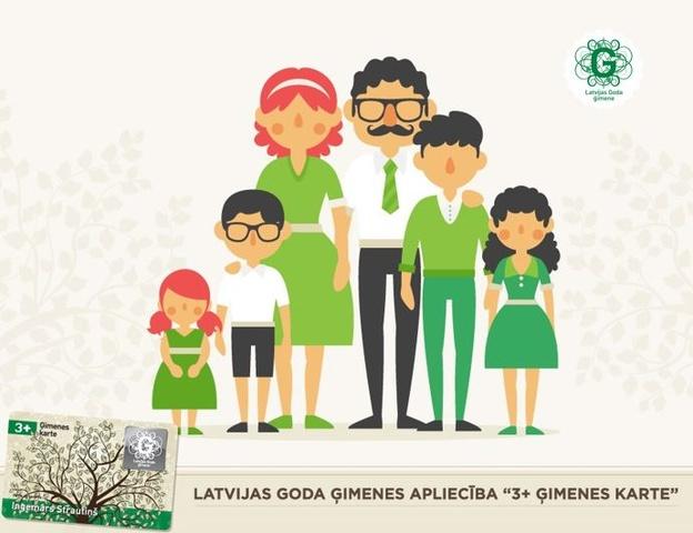 """Daudzbērnu ģimeņu vecāki var pieteikt """"3+ Ģimenes kartes"""" bērniem un jauniešiem"""