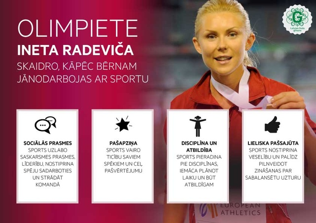 Ineta Radeviča skaidro, kāpēc bērnam vajadzētu nodarboties ar sportu?